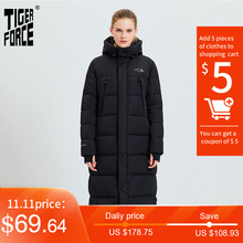 Jacket Woman Overcoat Hooded Casual Parkas Tiger-Force Female Warm Fashion Long Winter