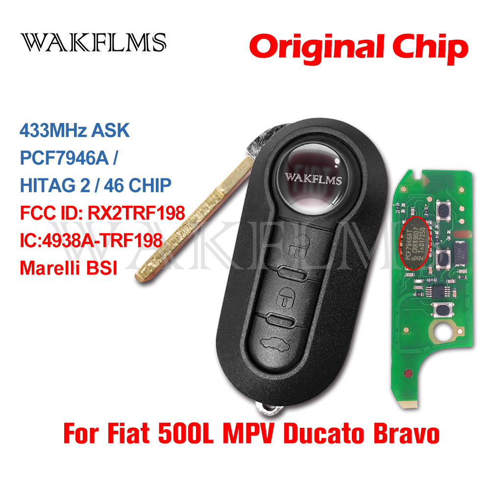Откидной дистанционный автомобильный ключ для замены для Fiat 500L MPV Ducato Bravo 2008-2012 2013 2014 2015 433MHz ID46 FCC ID RX2TRF198