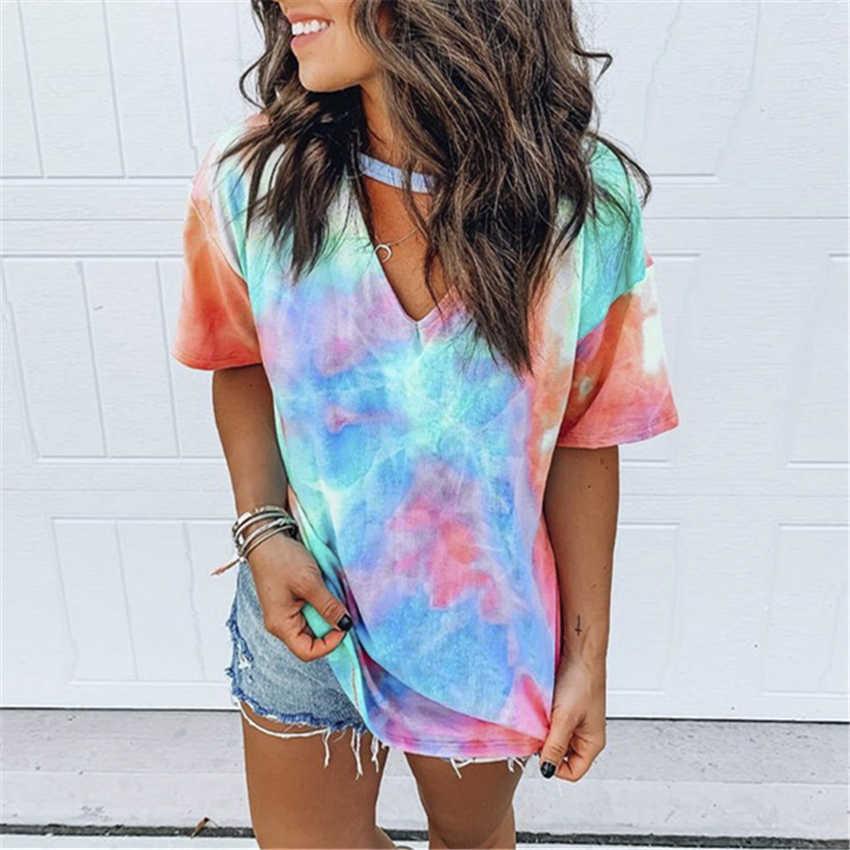 Hollow Out t-셔츠 Tie Dye Tops Tee 여성 여름 짧은 소매 2020 하라주쿠 camiseta mujer 티 셔츠 femme streetwear v-넥 티