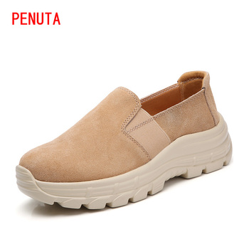Newest Woman Flat Platform Shoes New Sneakers Female Footwears Slip On Causal Suede Leather Driving Loafers Plus Size F003