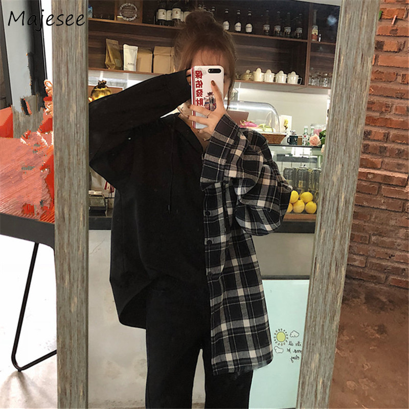 Shirts Women Patchwork Hooded Black Plaid Harajuku Mid-long Loose Student Streetwear Womens Tops Unisex Simple All-match Casual
