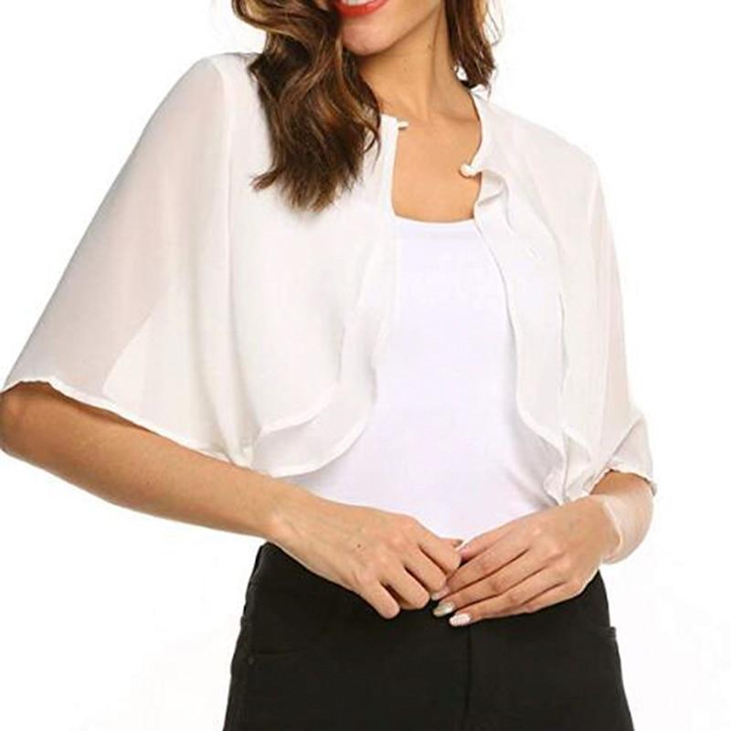 Womens Fashion Half Sleeve Layered Open Front Loose Sheer Bolero Chiffon Shrug Cardigan Top For Wedding Party Dress Cover Up