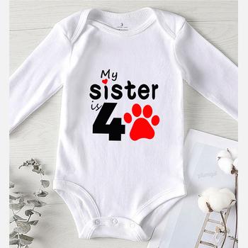 Dziecięce śpioszki dziewczęce letnie nowonarodzone chłopięce zimowe ubrania dla niemowląt moja siostra nadrukowane litery dziewczęce dziecięce kombinezony dziecięce tanie i dobre opinie Brangdy COTTON CN (pochodzenie) Unisex W wieku 0-6m 7-12m 13-24m List O-neck Swetry Krótki Rompers Pasuje prawda na wymiar weź swój normalny rozmiar