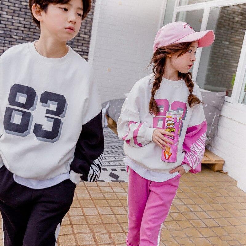 Filles garçons ensembles automne Sport costumes grandes filles garçons Alphabet enfants piste ensembles noir Rose couleurs 4-14 ans filles vêtements ensembles CL124