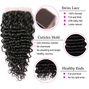 Image 4 - Cheap 10A Brazilian deepwave bundles with closure 3 bundles with closure deep curly bundles with closure Human Hair Extensions