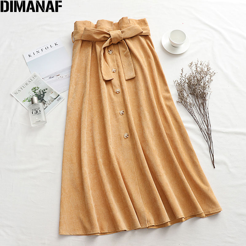 DIMANAF Plus Size Women Skirts Female Lady Trousers Clothing Loose Casual Cotton Skirts Spring Summer Solid Button Bow 2020 New
