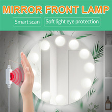 Led-Mirror-Lamp Hollywood String Cosmetic USB Dimming Inductive-Switch Hand-Sweep Waterproof