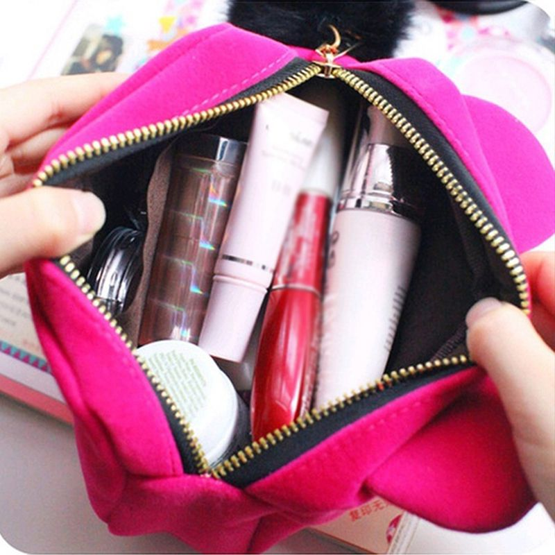 4 Colors Pleuche Cat Makeup Bag Cat Eyes Design Cartoon Storage Easily Super Cute Easy To Clean Cuboid Cosmetic Bag For Women