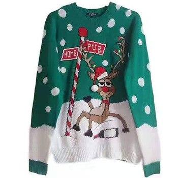 2020 New Christmas Sweatshirt Tops Women's Reindeer Print O-Neck Jacquard Lazy Wind Long Sleeve Harajuku Sweatshirt merry christmas reindeer olive branch print round beach throw