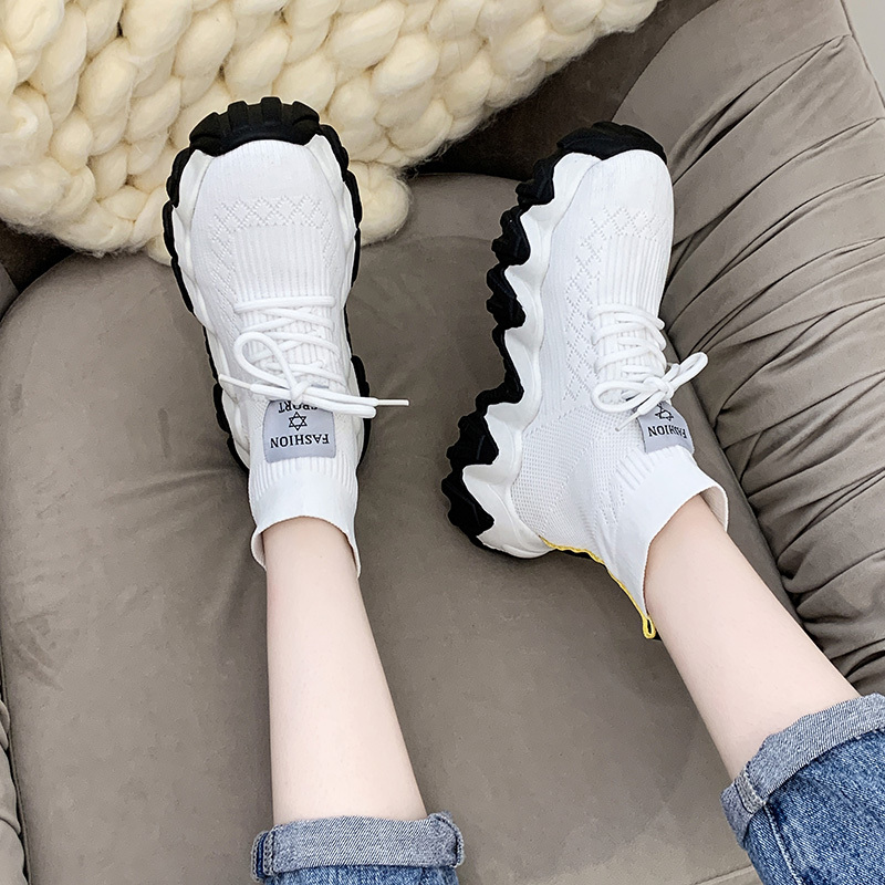 White Black Stretch Fabric Sneakers Women High Top Knitted Platform Sock Shoes Women Sneakers Casual Shoes Chunky Trainers