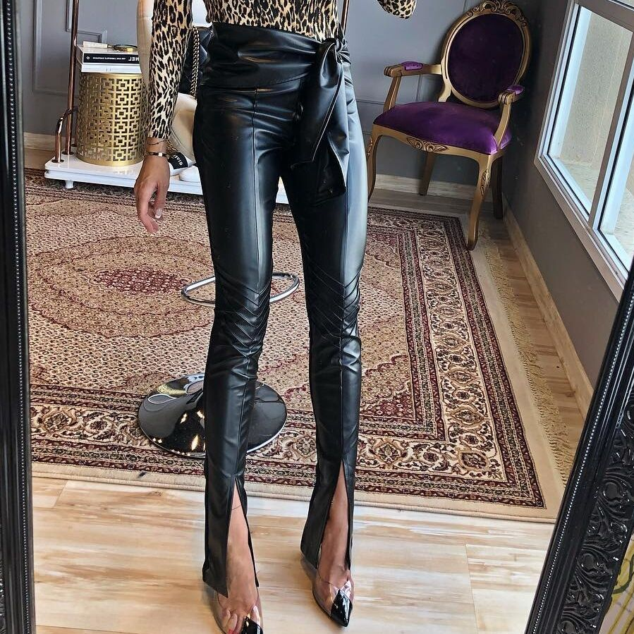 InstaHot Highstreet Black Frill Belted Waist PU Leather Pencil Full Length Hem Slit Trousers Women Autumn Night Out Slim Pants