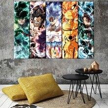 Affiche de dessin animé Deku Luffy Goku Naruto Tanjirou, peinture sur toile à l'huile, impressions d'art murales pour décor mural de chambre à coucher sans cadre