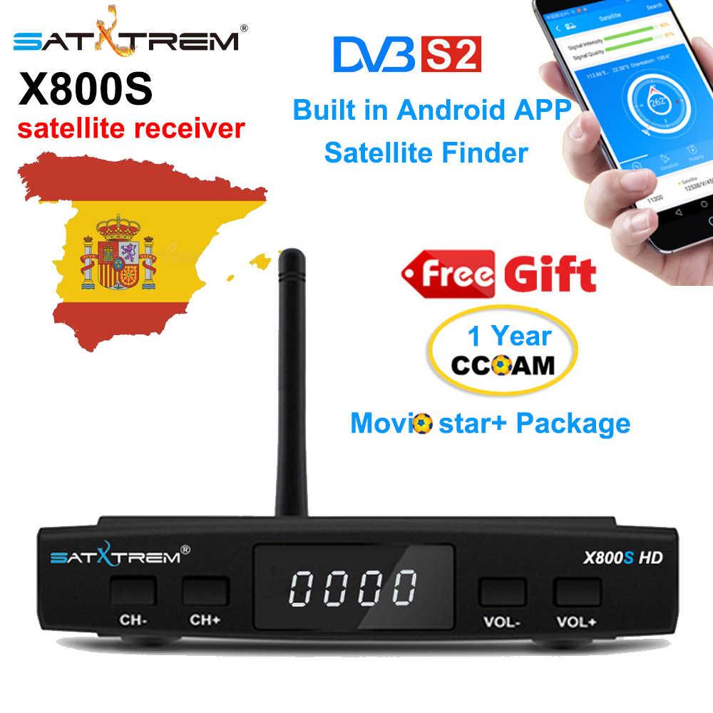 SATXTREM X800S 衛星テレビデコーダ DVB-S/S2 受容サポート cccam 1 年スペインヨーロッパと HD の USB 無線 LAN 受信機ボックステレビチューナー