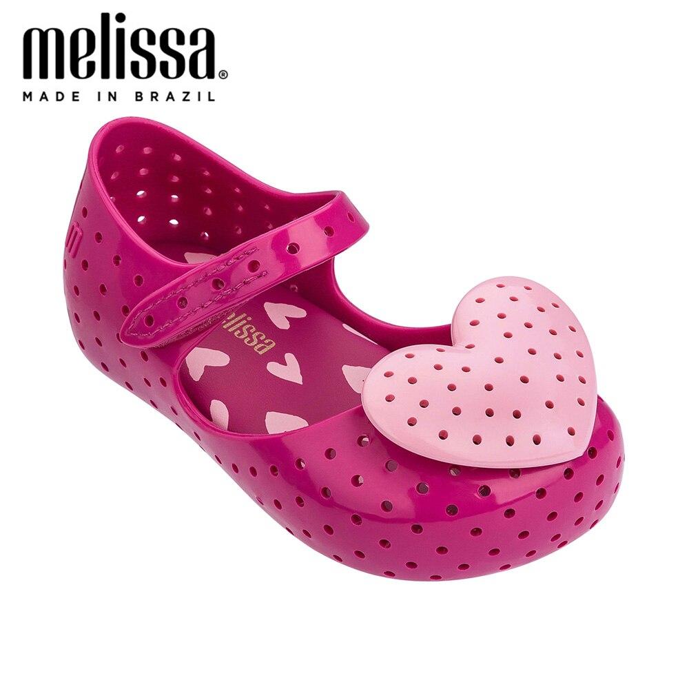 Mini Melissa Lovely Heart Girl Jelly Shoes Sandals 2020 NEW Baby Shoes Soft Bottom Melissa Sandals For Kids Non-slip Princess