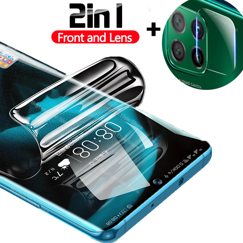 2-in-1 Film For Huawei P40 Lite Soft Screen Protector Hydrogel Film On For Huawei P40 Pro P40Lite Film Not Glass