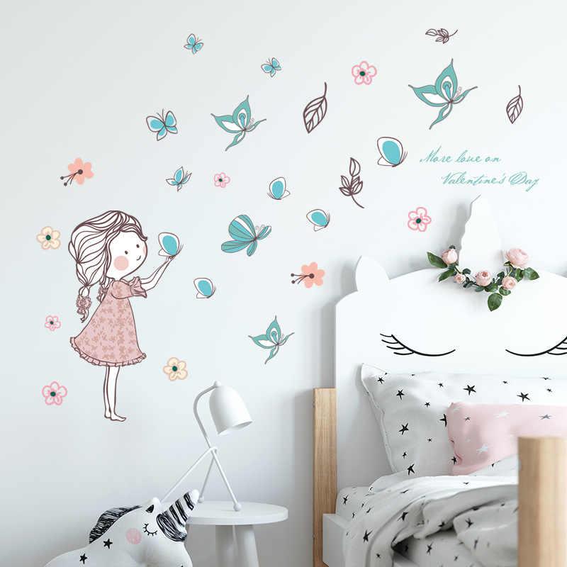Настенные Стикеры для девочек с летающей бабочкой, украшения для спальни, комнаты, дома, художественные росписи, наклейки с героями мультфильмов, детские обои для комнаты