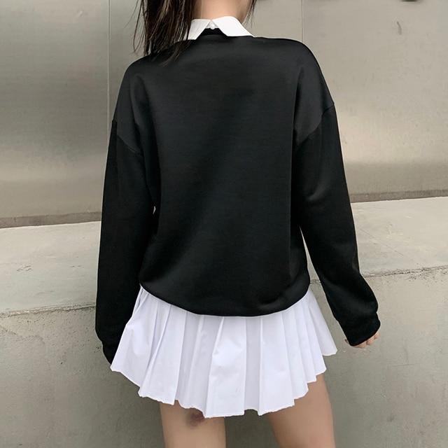 Goth sweatshirt with white collar in black