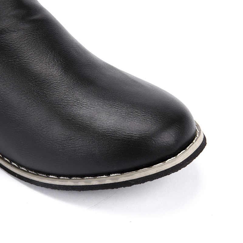 2019 katı renk rahat motosiklet botları kadın botları toka askı rahat ayakkabılar kadın zapatos de mujer kış kadın botları