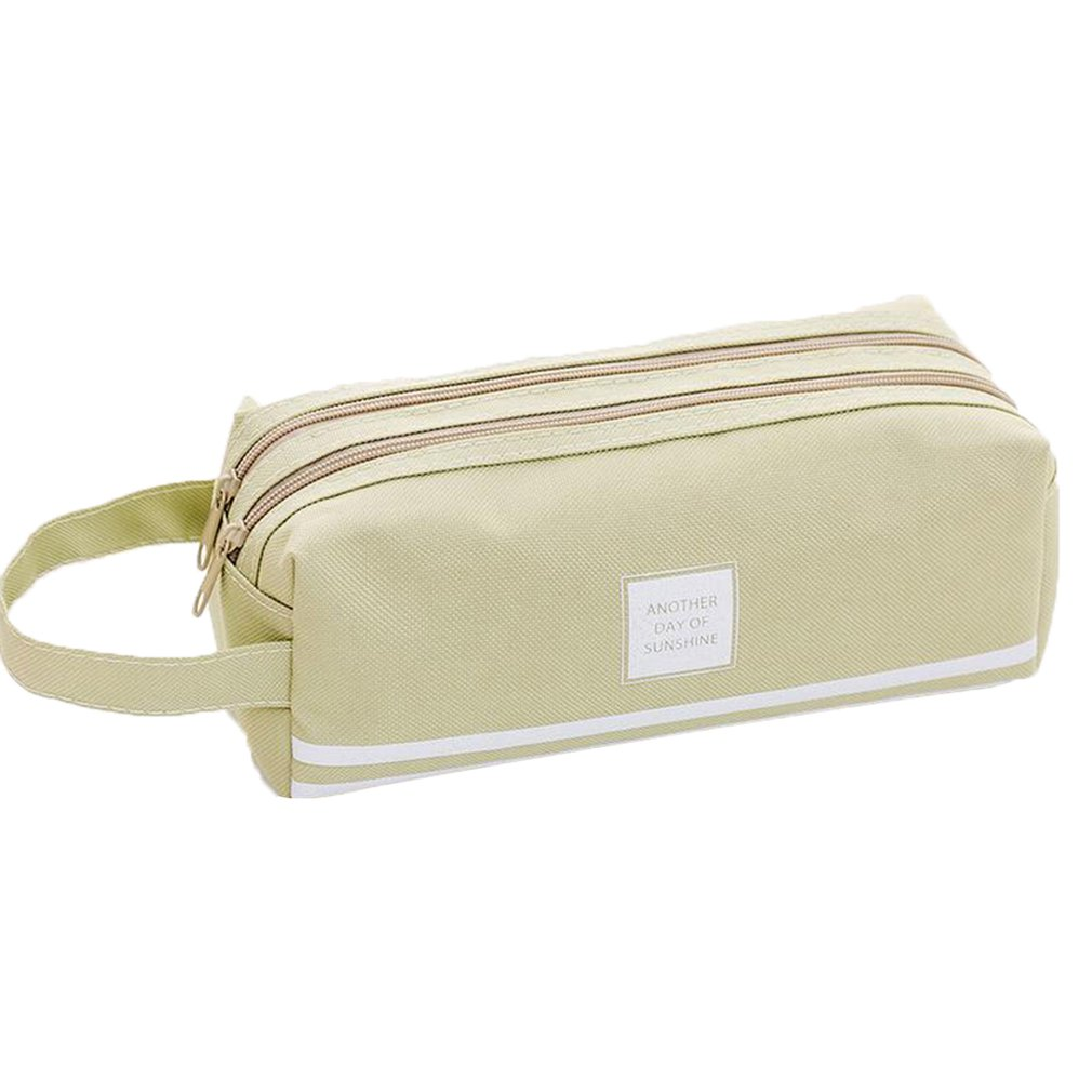 Simple Large Capacity Pencil Case PU Leather Triangle Pen Bag Stationery Storage Organizer Bag