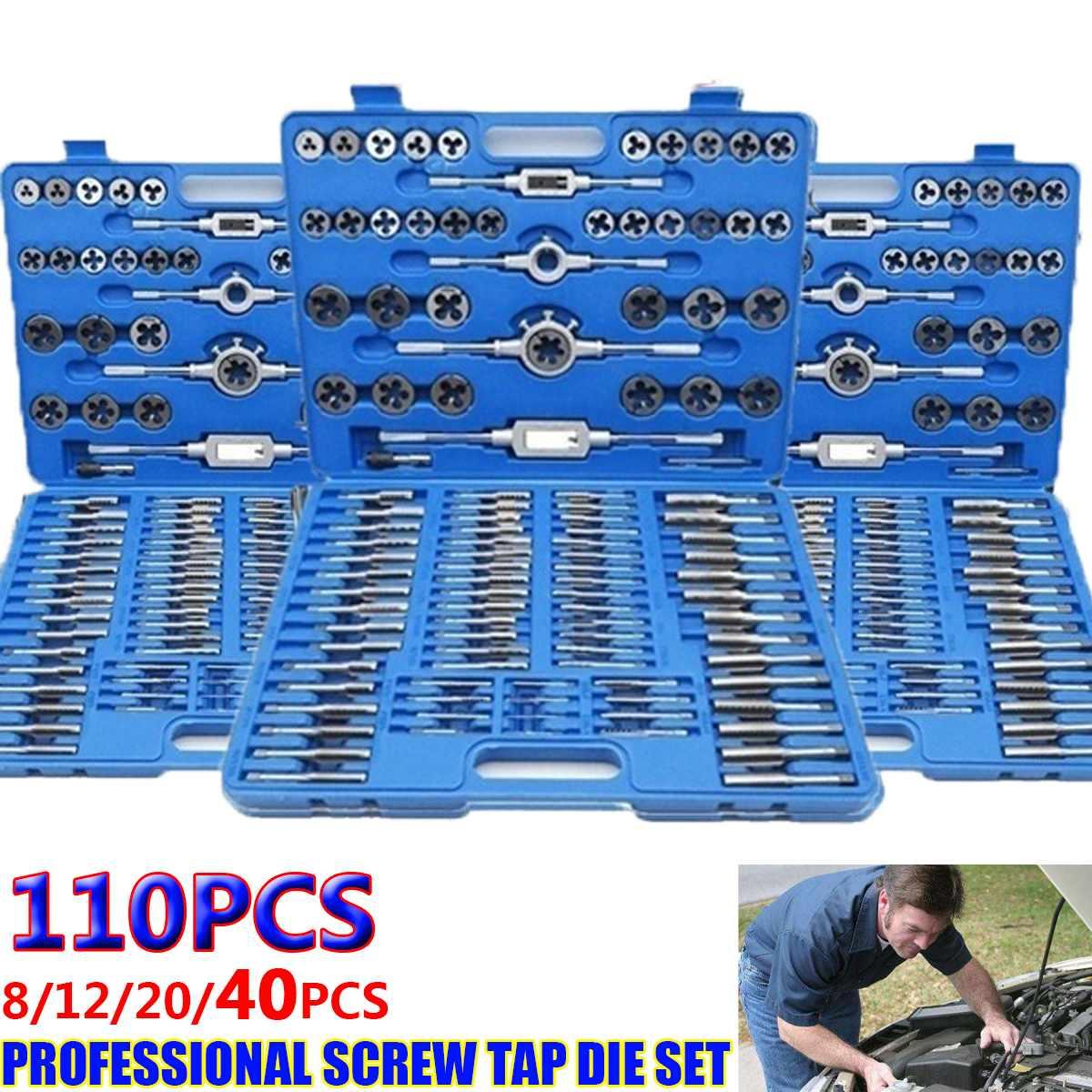 110//40//20PCS Tap and Die Set W//Case Alloy Steel METRIC Tools Threading Screw  ~