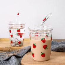 Verre à fraises avec lettres étoilées pour fille, 320ml, avec paille, jus, lait, thé, café, vin, tasse créative, cadeau pour enfant