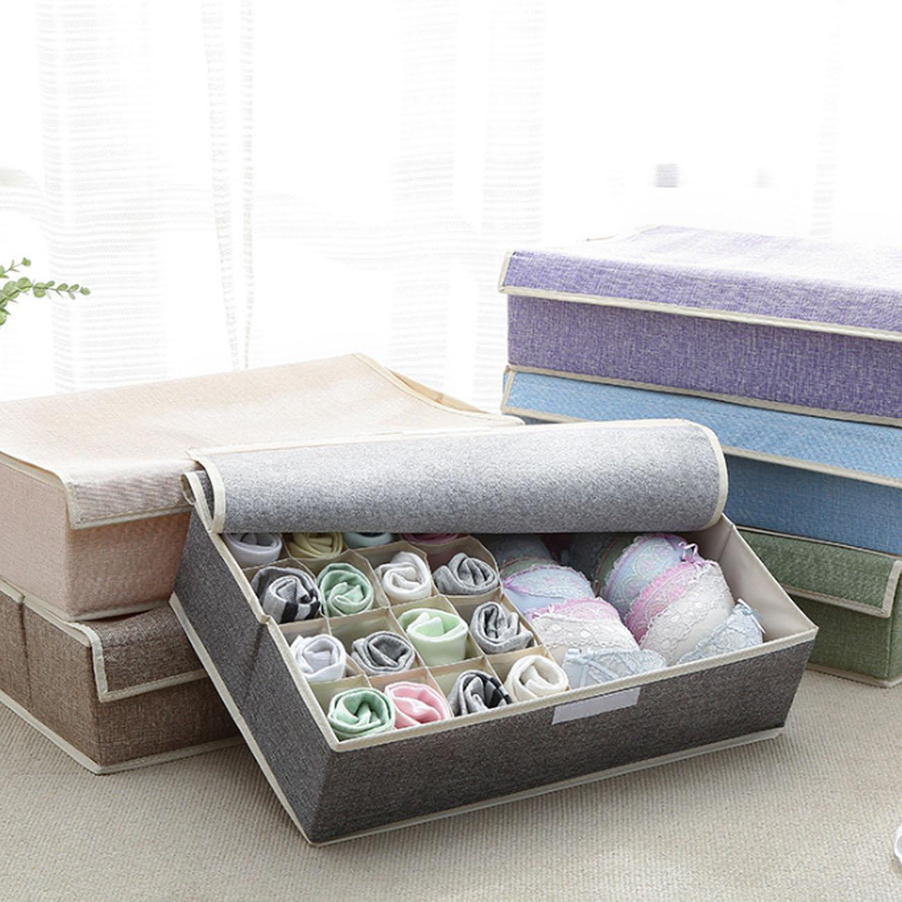 7 farben Baumwolle und Leinen Unterwäsche Lagerung Box Multi Grids Closet Organizer Für Bh Socken Höschen