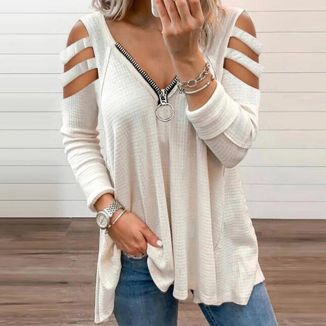 Fashion Chic Hollow Out Long Sleeve Tops Lady Elegant Zip V-Neck Solid Blouses Shirts 2021 Spring Casual Women Blusas Sweatshirt 2
