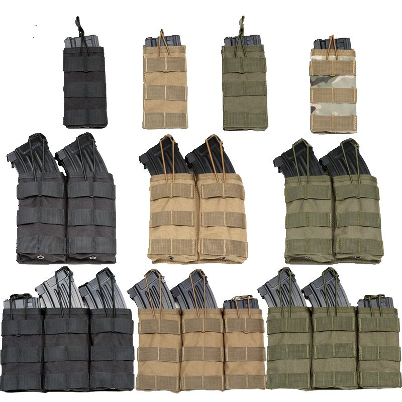 Good Quality 1000D Nylon Paintball Airsoft Pouch MOLLE Single / Double / Triple Magazine Pouch M4 AK AR M4 AR15 Rifle Mag Pouch