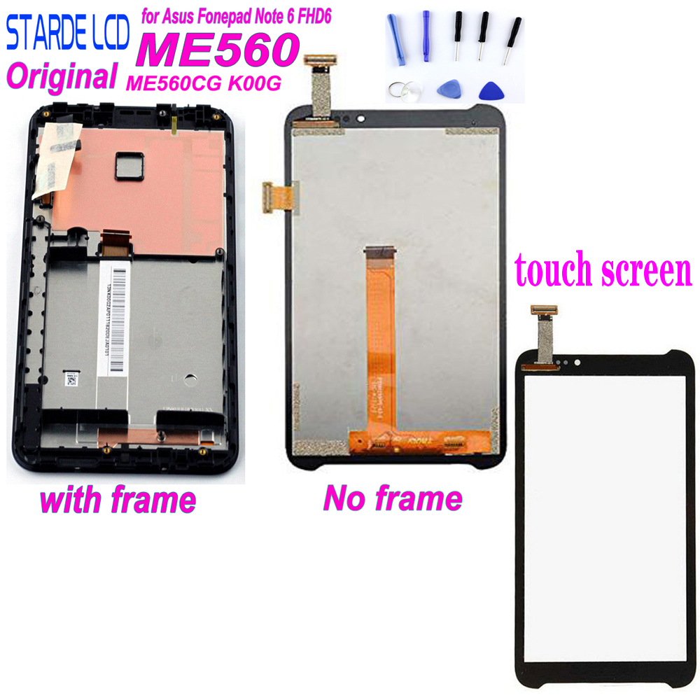 New For Asus Fonepad Note 6 FHD6 ME560CG ME560 K00G LCD Screen Display Panel Touch Screen Digitizer Glass Assembly With Frame