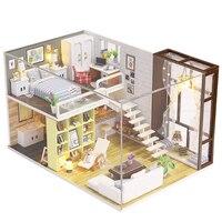 K 028 Children LED Lights Birthday Gift Wooden DIY Handwork Assembling Toy Kit Miniature Doll House Furniture