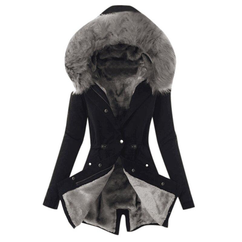 SWQZVT Hot Sale Fur Collar Winter Coat Women Solid Color Sashes Casual Warm Cotton Coat Women Jacket Hooded Women Parkas (3)
