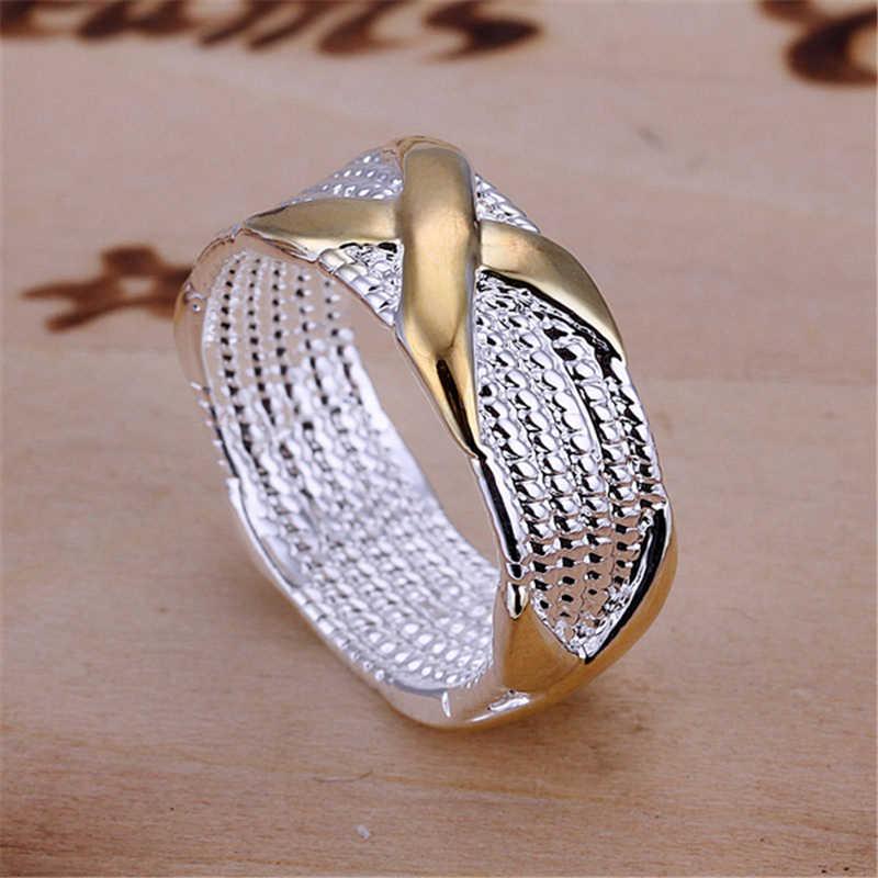 Charmhouse บริสุทธิ์ 925 แหวนเงินผู้หญิงทอง X แหวนขนาด 7/8/9 งานแต่งงานแฟชั่นเครื่องประดับ Bague Anillo Bijoux