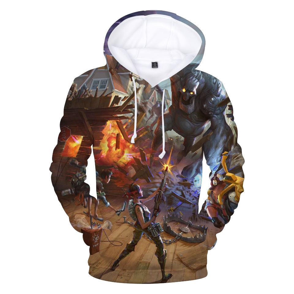 Cross-border Selling  Related Cool Stylish Autumn 3D Full-color Hooded Hoodie Men's Turtleneck Casual  Sweatshirt Youth Fashion