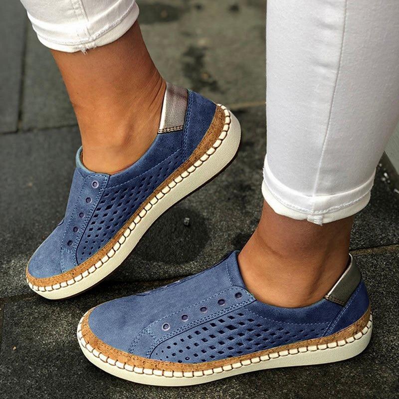 Экспресс-; женская обувь; повседневная обувь из вулканизированной кожи; кроссовки; женские удобные слипоны; лоферы на плоской подошве; zapatos mujer; Прямая поставка - Цвет: blue 3