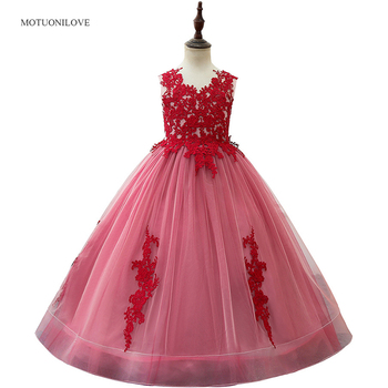 Red Flower Girl Dresses Lace Appliqued Junior Bridesmaid Dress Formal Party Gowns Princess Wedding Halloween Dresses for Girls