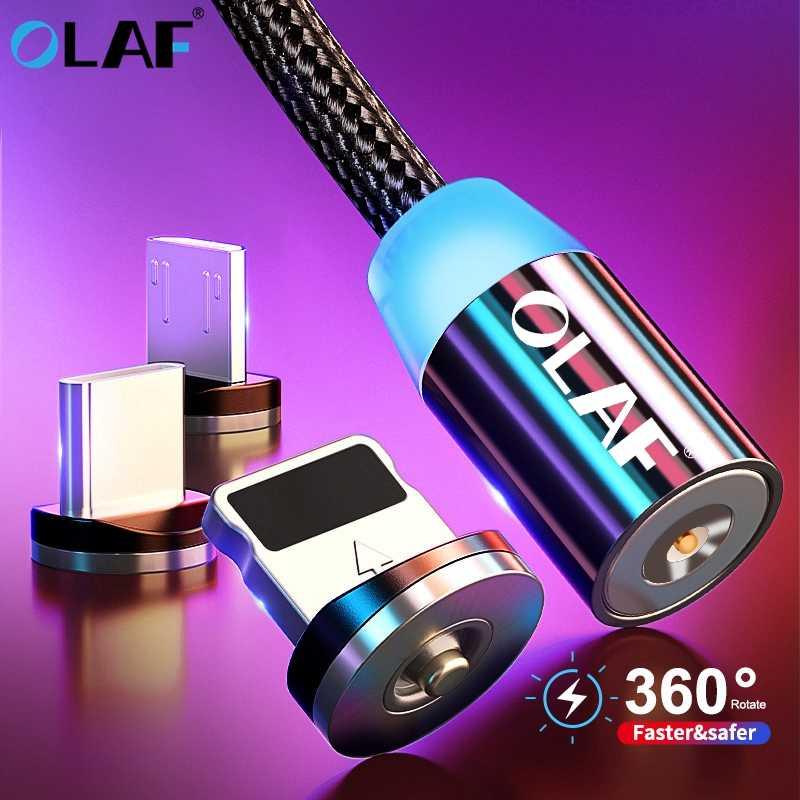 Olaf Magnetik Kabel Usb Cepat Pengisian Micro USB Tipe C Kabel Charger Magnetic Ponsel Kabel USB untuk iPhone X 7 Samsung
