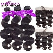 Mechones de cabello peruano Monika de 30 pulgadas con ondas corporales y pelo humano Frontal, 3 mechones con encaje Frontal no Remy con mechones