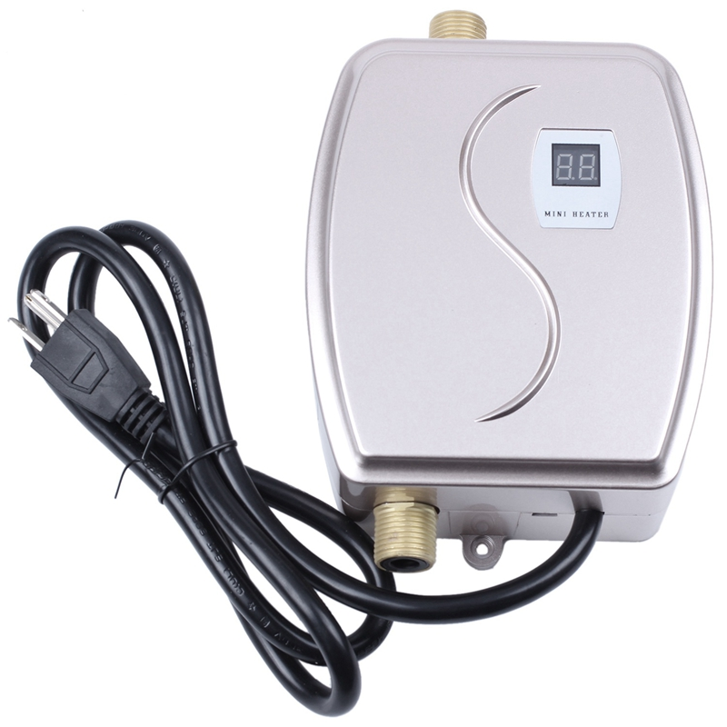 3000W Water Heater Mini Tankless Instant Hot Faucet Kitchen Heating Thermostat Intelligent Energy Saving Waterproof US Plug-Gold