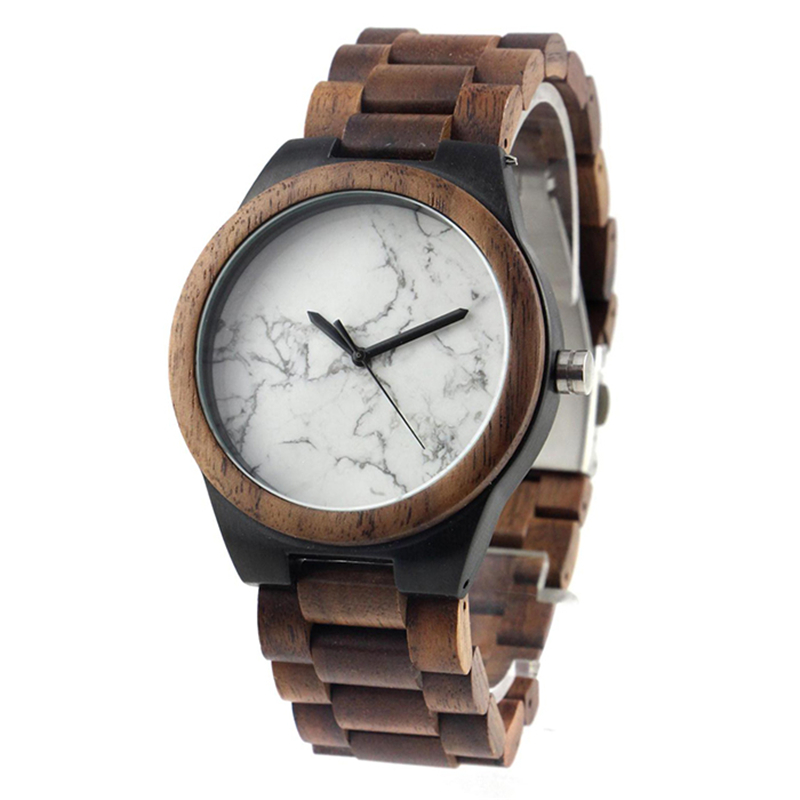 Dropshipping Handcrafted Water Resistant 100% Wooden Band Strap Customised White Marble Wood Wrist Watches for Men|Quartz Watches|   - AliExpress