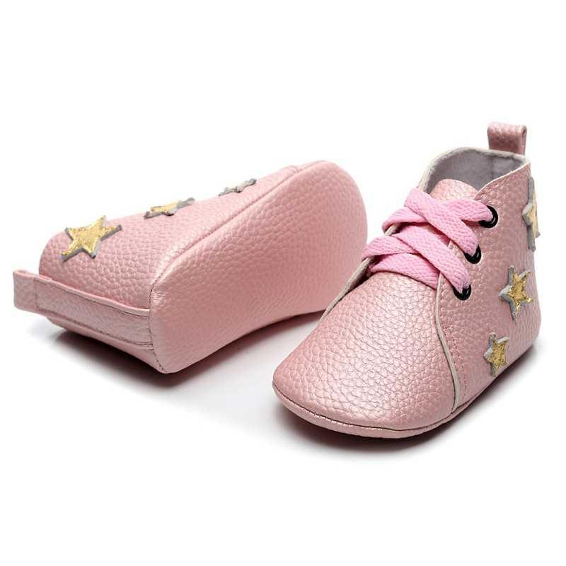 เด็กชายหญิงรองเท้า Breathable Anti-Slip Casual Star รองเท้าผ้าใบเด็กวัยหัดเดินรองเท้านุ่ม 0-24M