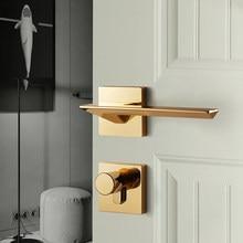 Luxury Golden Nordic Simple Black Bedroom Door Lock Split Wooden Door Lock Polished Gold Silent Door Lock with Key