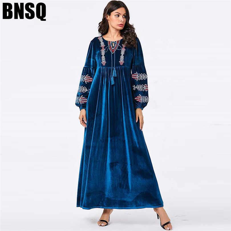 Арабское золото бархат вышитые Абая зимнее платье для женщин мусульманский кафтан марокканский исламский Дубай индонезийский Индийский платье