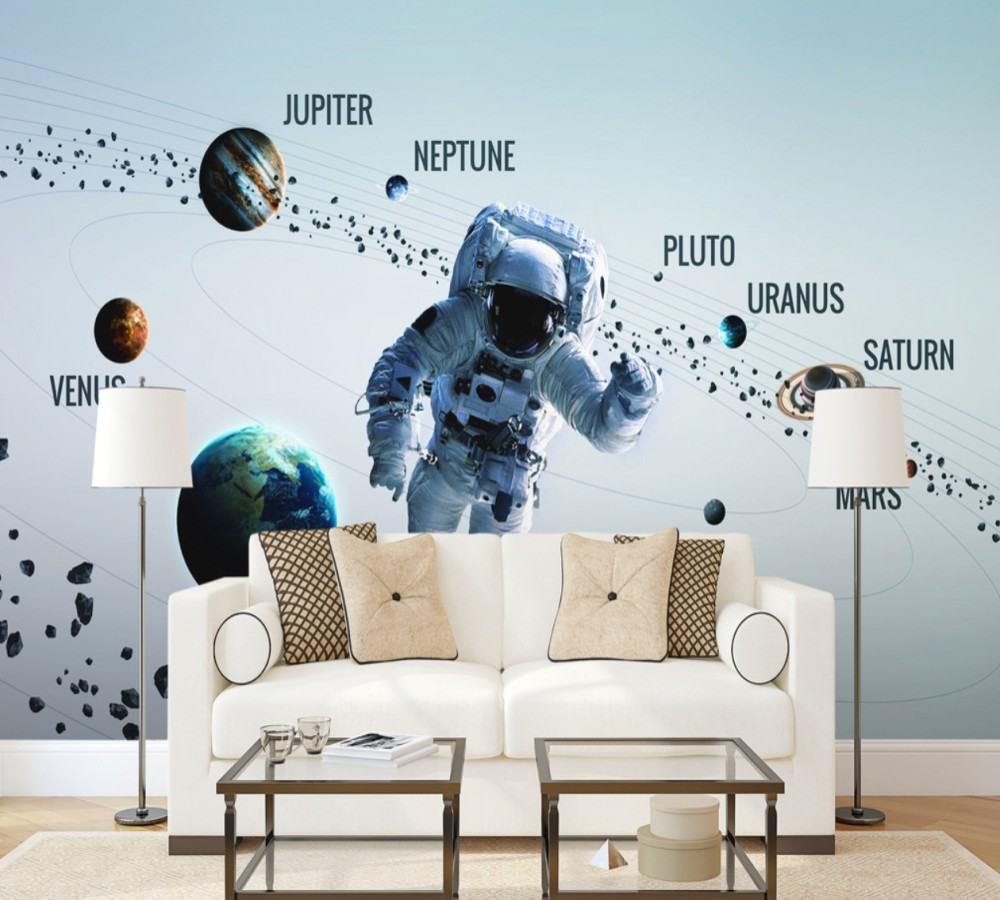 Dropship Wall Paper For Kids Room Universe Eight Planets
