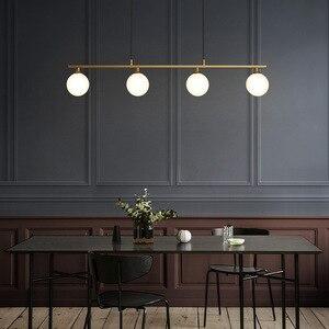 Image 3 - 북유럽 식당 모든 구리 LED 샹들리에 현대 유리 공 거실 매달려 램프 침실 조명기구 연구 조명
