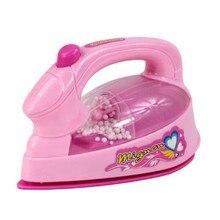 Menina fingir jogar mini ferro elétrico, de plástico rosa safrty plástico luz up simulação crianças menina bebê eletrodomésticos brinquedo,