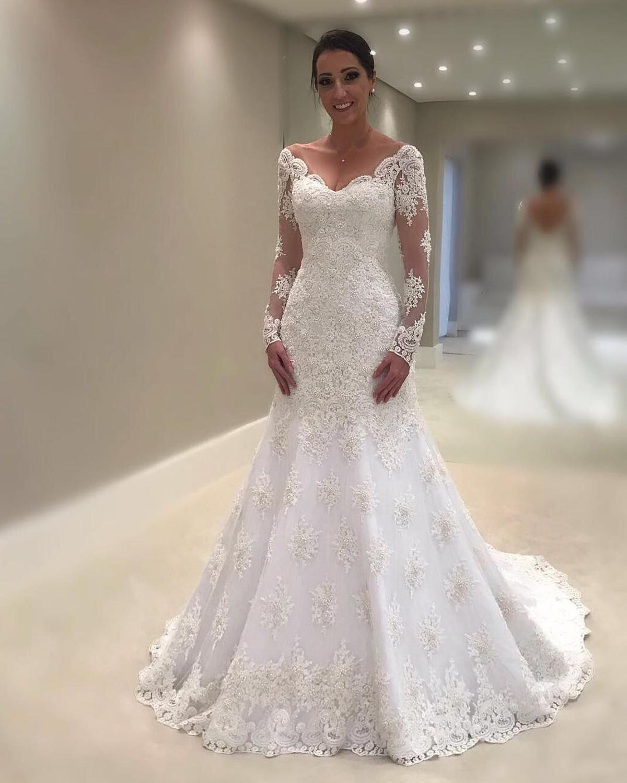 Vestido De Noiva Elegant White/Ivory Lace Mermaid Wedding Dresses 2019 V Neck Backless Long Sleeve Bridal Wedding Gown For Bride