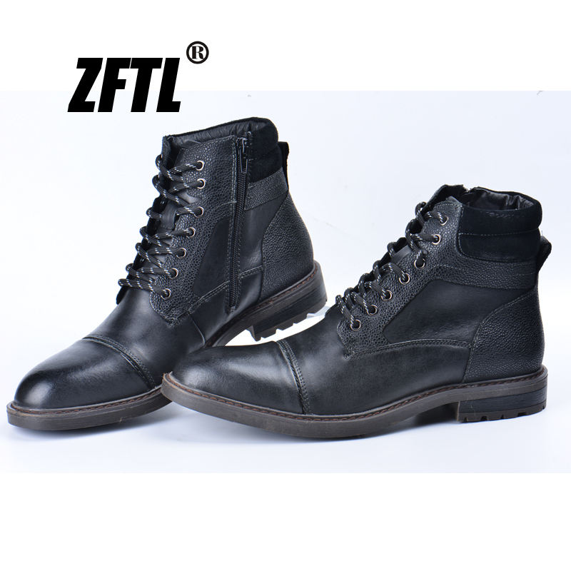 ZFTL New Men Winter Boots Man Martins Boots Black Big Size Genuine Leather Men's Warm Casaul Boots Lace-up Man Ankle Boots 045