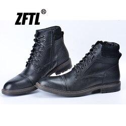Zftl novo homem botas de inverno homem martins botas preto tamanho grande couro genuíno quente casaul botas homem laço-up ankle boots 045