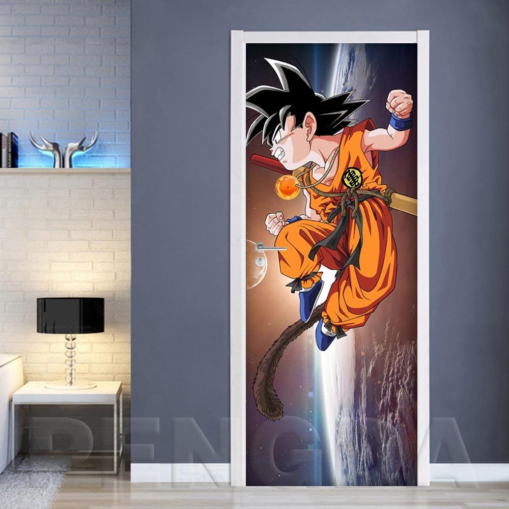 3D Print Sticker Artwork Anime Dragon Ball Goku Picture Self Adhesive Decal Home Decor Waterproof Paper Living Room Door Poster