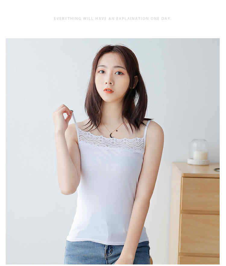 Camiseta sin mangas de algodón blanca básica con cuello redondo y encaje sexi para mujer camisola
